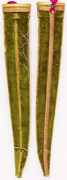 Indian khanjar dagger, 18th to 19th century, detail view of the scabbard, velvet, Met Museum, Bequest of George C. Stone, 1935.