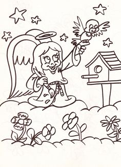 from an Angels coloring book - girl angel painting with bird, birdhouse and flowers in the clouds