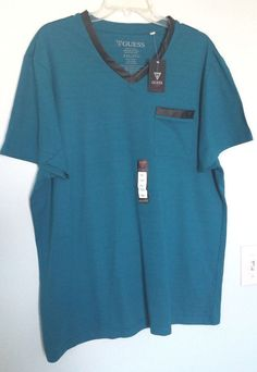 GUESS MEN FAUX LEATHER DETAIL V-NECK TEAL BLUE T- SHIRT SHORT SLEEVE XXL #GUESS #EmbellishedTee