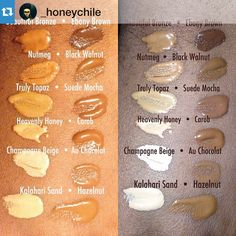 Swatches of Black Opal Beauty NEW liquid foundation