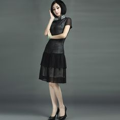 Fishtail Skirt Silk Sexy Mandarin Dresses Black  - $309 - SKU: 365668 - Buy Now: http://elegente.com/nzx.html #ChineseladyQipao #Qipao #Cheongsam