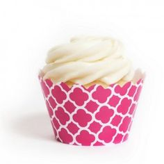 Fuchsia and White Spanish Tile Birthday Party Cupcake Wrapper