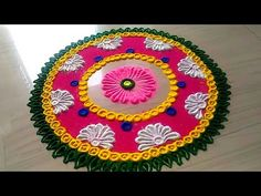 easy rangoli designs for Diwali FESTIVAL'S by jyoti Rathod Easy Rangoli Designs Videos, Rangoli Designs Latest, Simple Rangoli Designs Images, Rangoli Designs Flower, Colorful Rangoli Designs, Rangoli Ideas, Rangoli Designs Diwali, Diwali Rangoli, Beautiful Rangoli Designs