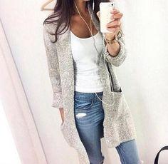 Women Long Sleeve Knitted Cardigan Loose Sweater Outwear Causal Coat Sweater