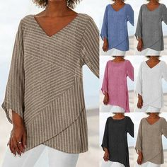 Buy New Plus Size Womens Linen Striped V Neck Blouses Loose Baggy Tops Tunic T Shirts at Wish - Shopping Made Fun Petite Outfits, Plus Size Outfits, Over 60 Fashion, Mature Fashion, Women's Fashion, Baggy Tops, Tunic Tank Tops, Blouse Outfit, V Neck Blouse