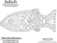 March's Free Embroidery Pattern, Folk Art Fish