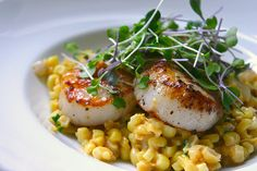 Scallops with creame