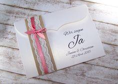 Einladung Hochzeit Vintage Spitze Kraft Rostrosa