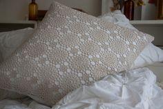 ivory crochet pillow