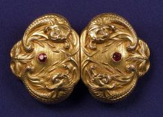 Art Nouveau 14kt Gold and Gem-set Belt Buckle, Sloan & Co.