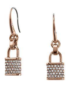 Pave Padlock Drop Earrings, Rose Golden by Michael Kors at Neiman Marcus.