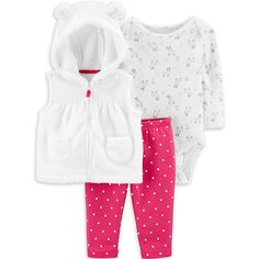 She'll be set for the holidays in this girls' Carter's reindeer bodysuit, hooded vest and printed leggings set. Kids Outfits Girls, Toddler Outfits, Girl Outfits, Polka Dot Leggings, Polka Dot Pants, Carters Baby Girl, Baby Girls, Teen Boys, Hooded Vest