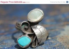 Big Sale Now Vintage Navajo 1970's Sterling Silver Mother of Pearl and Turquoise Ring