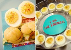 "BABYmania {Beatles Inspired Birthday} - Pt. 2 // Hostess with the Mostess® THE FOOD/DRINKS:  ""I wanted classic kid's birthday party food, but that didn't mean it couldn't be creatively executed! Here's what we had on the menu: – I AM THE EGGMAN deviled eggs – LET IT B-L-T bites – HERE COMES THE SUNchips –YELLOW SUBMARINE sandwiches – SGT. PEPPERoni pizza – THEY SAY IT'S YOUR BIRTHDAY cake And for drinks we had ""FOR THE BENEFIT OF MR. SPRITE,"" ""SGT. DR. PEPPER"","