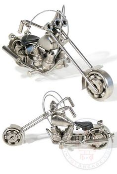 Head out on the highway!  Chrome Low Rider Chopper really rolls! This great looking and heavy duty metal bike is made with RECYCLED motorcycle parts with nuts for headlights and spark plugs for the engine block....