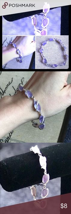 Amethyst colored birthstone crystal bracelet This is a beautiful Silvertone hardware and amethyst color birthstone bracelet adorned with mini clear crystals. A fun fashion piece  to adorn your wrist elegantly. Will come delicately wrapped in a beautiful satin dust bag. Thanks for looking offers welcome. pishposh shop Jewelry Bracelets