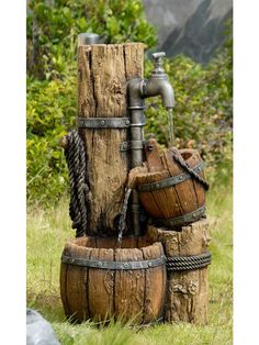 Whether you live on a ranch, own horses, or simply love the look of this unique fountain, the Stable Pump Water Fountain is one of a kind.  With pails and colum