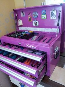 """Even when things get """"hairy"""" in her grooming salon, Alyce keeps her tools organized thanks to her The Original Pink Box tool chest! - http://amzn.to/2h50xSk"""