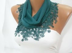 Women  Green Cotton Scarf  Headband  Cowl with Lace Edge by DIDUCI, $13.50 by merle