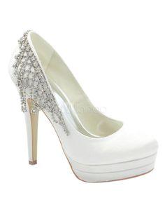 Chic White Satin Rhinestone Bridal Shoes - Milanoo.com
