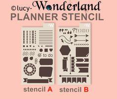 stencil Wonderland per agenda _ formato filofax di lucyWONDERLAND