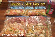 Fajita Freezer Meal Recipe ~ Chicken & Steak Fajita Kits – Must Have Mom, added … Fajita Freezer Meal Recipe ~ Chicken & Steak Fajita Kits – Must Have Mom, added garlic, 1 tsp. Beef Freezer Meals, Freezable Meals, Freezer Cooking, Freezer Recipes, Freezer Chicken, Cooking Tips, Raw Food Recipes, Beef Recipes, Chicken Recipes