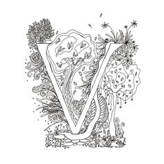 Monogram, Initial, Colour-Me-In Illuminated Letters - V, original art  drawings by melanie j cook