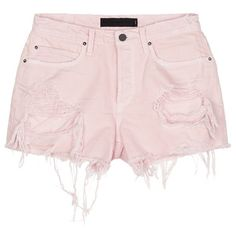 Alexander Wang 'Romp' oversized distressed denim shorts (€205) ❤ liked on Polyvore featuring shorts, pink, ripped shorts, torn shorts, pink shorts, distressed shorts and destroyed shorts