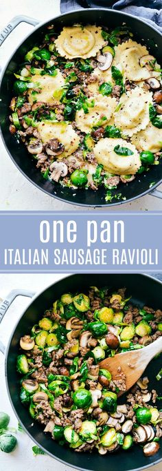 20-minute dinner recipe!!! Italian Sausage, Brussels, and Mushroom Ravioli. No heavy creams and so delicious! via chelseasmessyapron.com