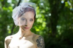 Wedding Veil Crystal Tulle Birdcage Blusher by OverTheMoonBridal