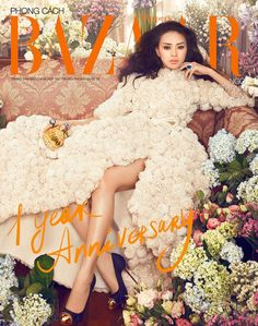 Overflowing Floral Photoshoots -   Harper's Bazaar Vietnam September 2012 Cover Stars Ngo Thanh