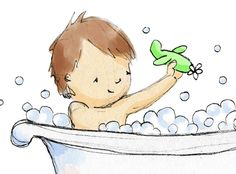 Children's Wall Art  Bath Time Little Boy 8x10 - i wonder if my mil could make something similar