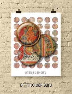 TIBETAN MANDALA 1 Circle Bottle Cap Images for Pendants & Crafts Digital Form, Digital Collage, Digital Image, Tibetan Mandala, Last Minute Christmas Gifts, Bottle Cap Images, Buddhist Art, Beads And Wire, Bottle Art