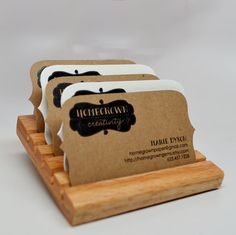 Wood Business Card Holder Display