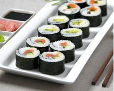 2½ cups Japanese short-grain rice (like Koshihikari rice)   2½ cups cold water    4 tablespoons rice vinegar    3 tablespoons superfine (caster) sugar   2 teaspoons salt   Your choice of fillings (see Sushi roll variations below)   6 sheets nori    Japanese soy sauce   Pickled ginger (gari)    Wasabi paste