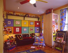 Playtime  A color blocked wall features the childrens artwork and sets the stage for the high energy spirit this room generates. Floor to ceiling storage cabinets contain all the childrens toys games and art supplies. There is room for musical instruments, playing dress-up, watching TV and even just relaxing.