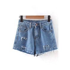 Frayed High-Rise Denim Shorts ($30) ❤ liked on Polyvore featuring shorts, high waisted shorts, high waisted denim shorts, jean shorts, frayed shorts and high rise denim shorts