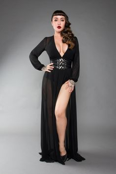 25b1d23a6d Gothic Glamour Bodysuit in Black with Floor Length Sheer Overlay