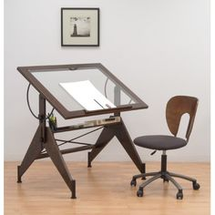 The Aries Glass Top Drafting Table by Studio Designs offers a sophisticated, versatile work space for the home or office. In handsome Sonoma Brown, the table adjusts in height up to inches and angle from flat to 75 degrees. Vintage Drafting Table, Wood Drafting Table, Office Furniture Design, Office Decor, Home Office, Desk Office, Furniture Decor, Country Furniture, Kitchen Furniture