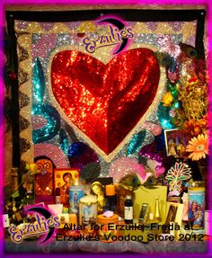 Vodou Drapo (hand sewn sequined flags) for the namesake of our store...Mistress Erzulie Freda...