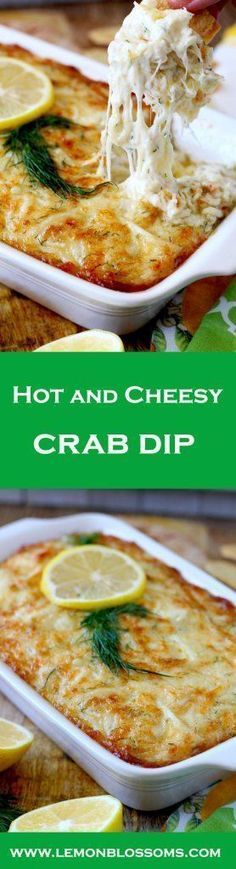 Hot and Cheesy Crab Dip ~ The Perfect Party Dip! Lump crab meat, cheese, lemon and dill are baked to bubbly and gooey golden brown perfection. This Hot and Cheesy Crab Dip is scrumptious, rich, delicious and the ultimate party dip! Yummy Appetizers, Appetizers For Party, Appetizer Recipes, Antipasto Recipes, Tapas Recipes, Cheese Appetizers, Party Recipes, Weight Watcher Desserts, Crab Recipes