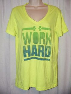 Under Armour Bright Green Heat Gear Fitted Work Hard Play Harder T Shirt Top M #UnderArmour #Blouse #Casual