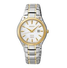 Seiko® Women's Two-Tone White Dial Dress Calendar Watch