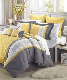 Yellow Livingston Embroidered Comforter Set