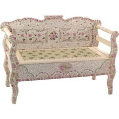 Bed of Roses Mosaic Bench - Vanity Tables and Seating - Decor for the Bath - Bedding and Bath