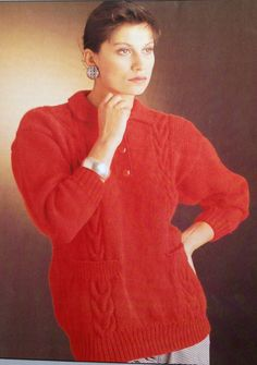 feb6746fb06864 Items similar to Ladies Aran Fishermans Cable Sweater   Jumper Knitting  Pattern with Collar