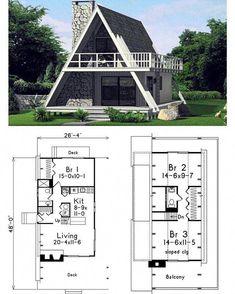 A-Frame House Plan. A-Frame House Plan. A-Frame House Plan. Tiny House Cabin, Tiny House Plans, Cabin Homes, House Floor Plans, Tiny Houses, Small House Plans Under 1000 Sq Ft, A Frame Cabin Plans, A Frame Floor Plans, Small Cabin Plans