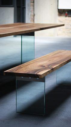 Tisch Esstisch Schreibtisch 4x1 Walnuss Europäischer Nussbaum Massivholz  Glas   Table Walnut And Glas By Benjamin Pistorius Berlin
