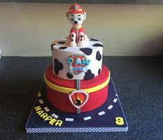 Paw patrol Marshall cake. Paw Patrol Birthday Cake, Paw Patrol Party, Birthday Cake Toppers, 4th Birthday Parties, Boy Birthday, Birthday Ideas, Cake Disney, Paw Patrol Marshall, Torta Paw Patrol