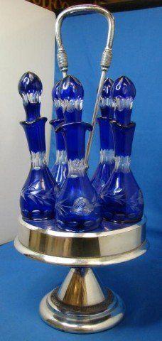 80: Vintage Condiment Set Cobalt Cut to Clear : Lot 80